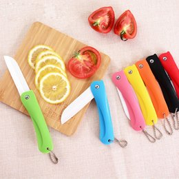 Wholesale Zirconia Knife Blade - White Blade Folding Zirconia Kitchen Cooking Knife Fruit Vege Meat Slicing Paring Ceramic Knives with ABS Handle Wholesale
