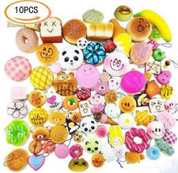 Wholesale Rubber Buns - 2017 10pcs set Small Cute Bread Random Squishy Soft Panda Bread Cake Buns Phone Straps Pendant toys for children