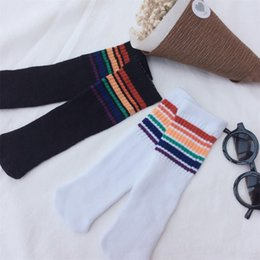 Wholesale Girls Knee High Tube Socks - Wholesale- 1 Pair New Fashion Unisex Baby Kids Knee High Rainbow Striped Tube Socks Warm Socks Boy Girl Socks