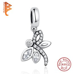 Wholesale Dragonfly Silver - BELAWANG Wholesale Fashion 925 Sterling Silver Vivid Dragonfly Charm Beads Fit Pandora Original Bracelet&Necklace DIY Jewelry for Women