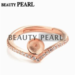 Wholesale 925 Sterling Silver Ring Rose - Bulk of 3 Pieces Pearl Ring Mount Findings Rose Gold 925 Sterling Silver Zircon DIY Jewellery Making