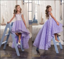 Wholesale Toddlers High Low Pageant Dresses - Lavender Beautiful Flower Girl Dresses 2018 High-Low Vintage Lace Girls Pageant Party Gowns Princess Kids Formal Party Wear Custom