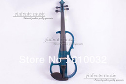 Wholesale Viola Bows - Wholesale-New dark blue 4 string 16'' Electric Viola Silent Solid Wood Body Powerful Sound Case Bow