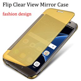 Wholesale Transparent Flip Case - For Galaxy note 8 S8 plus mirror cover luxury case flip electroplating cellphone case for plastic + leather case for IP 6 7 8 SAM S7