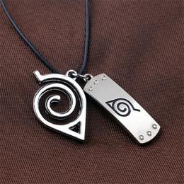 Wholesale Konoha Pendant - Naruto Anime Konoha Mark Pendant Necklaces Alloy Silver Plated Leather Chain Fashion Necklace For Friend Gift