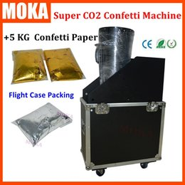 Wholesale Streamer Confetti - Flycase packing Super CO2 confetti machine FX jet Co2 Gas Confetti streamer machine +5kg gold silver color confetti paper