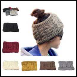 Wholesale Wide Hats - 2017 New 7 Colors Women Wide Crochet Headband Messy Bun Ponytail Womens Skull Caps Ladies Hats Beanies Ear Warmer