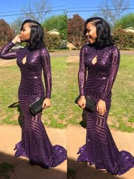 Wholesale Bling Deco - 2017 Grape Keyhole Neck Bling Sequins Prom Dresses High Neck Mermaid Long Sleeves Formal Evening Gowns Elegant Beach Celebrity Party Dress