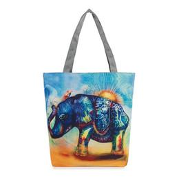 Canada Éléphant imprimé toile fourre-tout s utilisation quotidienne femme unique sacs à bandoulière pour le shopping sacs à main en toile casual femmes casual sac de plage cb-226g Offre