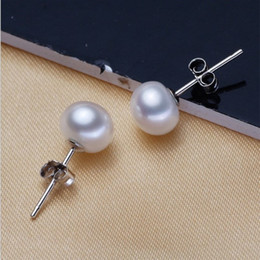 Wholesale 6mm Stainless Steel Balls - Fashion Women Jewelry 6mm 8mm 10mm Pearl Earring Studs Silver Plated White Round Ball Imitated Pearls Stud For Wedding Party