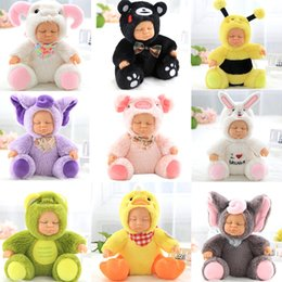 Wholesale Reborn Silicone Baby Dolls - Reborn Silicone Sleeping Baby Toy 6.6in. Sitting Plush Simulated Silicone Doll Animal Elephant Bee Frog Sleeping Soft Baby Comforting Toy
