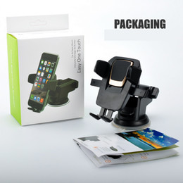 Wholesale Iphone Suction Cups - Easy One Touch 3 Car Mount Universal Phone Holder 360 Degree Suction Cup Cradle Stand Holders for iPhone X Samsung S8 Note 8