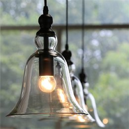 Wholesale Modern Shade Chandelier - New Antique Vintage Style Glass Shade Ceiling Light Bell Pendant Light European Retro Chandelier Glass Pendant Lamps Glass Pendant Lights