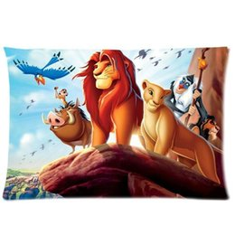Wholesale Hot Anime Pillowcase - Wholesale- Hot The Lion King Pillow Case Cover Anime Pillowcase Rectangle The Lion King Bed Pillowcover Custom Kids Gift Two Sides 20x30