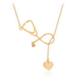 Wholesale Lariat Necklace Gold - Stethoscope Heart Pendant Lariat Cool Necklace For Doctor Nurse Medical Student Gift Gold Silver Medical Jewelry