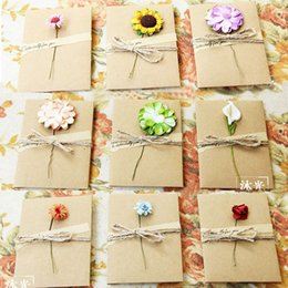 Wholesale Hand Making Paper Flowers - Mothers Day gift cards DIY Envelope card birthday Lovers congratulation greeting cards Kraft paper dried flower Hand-made DHL