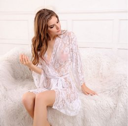 Wholesale Transparent Bathrobes - Europe and the United States Large Size Lace Lingerie Transparent Real Life Underwear Extreme Temptation Sexy Perspective Bathrobe