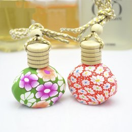 Wholesale Aroma Empty - 12ml Porcelain Flower Pottery Car Perfume Pendent Bottle Empty Aroma Essential Oil Hang Strap Bottles Automatic Volatile