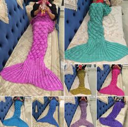 Wholesale Crochet Christmas Bag - Knitted Mermaid Tail Blanket 140*70cm For Kids Soft Warm Handmade Crochet Sleeping Bag Air Condition Blanket Christmas Gift 40pcs OOA939