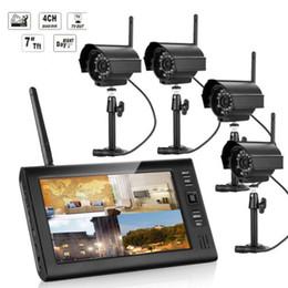 "Wholesale Wireless Dvr Security Camera Systems - 7""TFT LCD 2.4G Quad DVR Wireless Home Security System Night Vision 4 IR Camera"