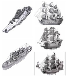 Wholesale Toy Black Pearl Ship - 3D Metal Puzzle Queen Anne's Revenge Black Pearl Ship Model DIY Stainless Steel Pirate Ship Assembly Jigsaw Toy Puzzles for Adults