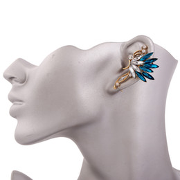 Wholesale Dangling Crystal Ear Cuffs - Crystal Butterfly Dangle Earrings Blue Ethnic Style Alloy Vintage Bohemia Simple Joker Maxi Gold Color Clip Earrings Women Fashion Jewelry