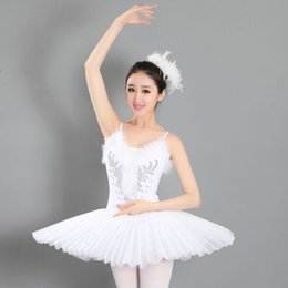 Wholesale Traditional White Costume - Womens' traditional white sleeveless ballet dance wear tutu organza tutu performance dress Ballerina Skirt stage costumes