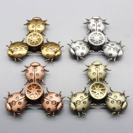 Wholesale Metal Ladybug - High Quality EDC Hand Spinners Ladybug Shape Three Leaves Fidget Spinner Metal Ball Bearings Reduce Pressure Finger Toy Sliver 13xbd B