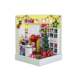 Wholesale Townhouse Dollhouse Furniture - New Doll House DIY Toy Kit Wooden Dollhouse Room with Furniture LED Dustproof Cover for Children Christmas Birthday Gifts
