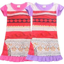 Wholesale Pink Lotus Clothing Wholesale - Moana dress 2017 New design Lotus leaf sleeves baby girls Moana dress summer cartoon Children Moana printing dresses Kids Clothing
