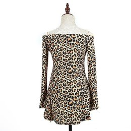 Wholesale One Shoulder Leopard Dress - New hot style summer 2017 long-sleeved leopard print one word led off-the-shoulder sexy pleated dress is 129