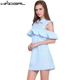 4b5b9d71c2c Wholesale- WINDGIRL women summer dress blue striped short straight dress  short sleeve fashion casual dresses Cocktail party beach Vestidos