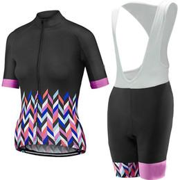 Squadra rosa ciclismo jersey donna online-rosa nero pro team Maglia ciclismo ropa ciclismo set abbigliamento ciclismo estivo 2019 con pad in gel ciclismo abbigliamento donna