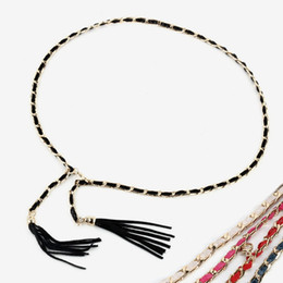 Wholesale Dress Chain Belts - female chastity belt simple snake chain leather belt for women and ladies designer belts summer metal fringe chains fashion for dress