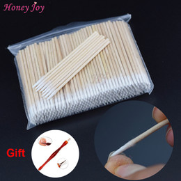 Wholesale Dedicated Tattoo - Wholesale- 300PCS Short Wood Handle Small Pointed Tip Head Cotton Swab Eyebrow Tattoo Beauty Makeup Color Nail Seam Dedicated Dirty Picking