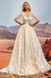 Wholesale Half Camo Long Sleeve - full embellishment half angel sleeves Arab Dubai wedding dresses 2018 oksana mukha bridal a-line v neck covered lace back royal train