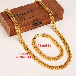Hommes solides 24k en Ligne-Mens Miami Cuban Curb Chain Réel 24k Or massif GF Hip Hop 10MM Épais Collier Bracelet Parures