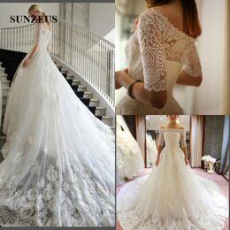 Wholesale Big Wedding Gowns - Boat Neck Off the Shoulder Lace Wedding Dresses Half Sleeve Vintage Lace Bridal Wedding Gowns Big Train Church Bride Dresses 2018