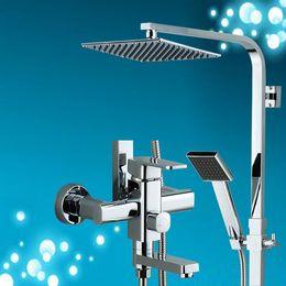 Wholesale Square Tap Set - 2016 new luxury bathroom shower sets 8'' shower head set brass chrome polish square style bathroom shower faucets mixer taps 20170107#