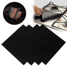 Wholesale File Cover Wholesale - 4PCS Reusable Aluminum Foil Gas Stove Burner Cover Protector Liner Clean Mat Pad File Injuries Protection 0702261