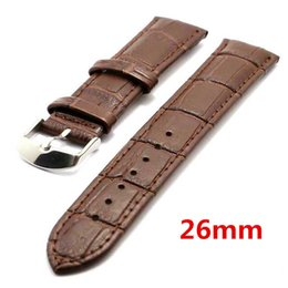 Wholesale womens brown leather bracelets - Wholesale- Brown 26mm Band Width Genuine Leather Wrist Watch Band Strap Stainless Steel Buckle Mens Womens PD020226