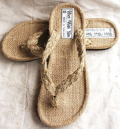 Wholesale Handmade Women Shoes - Size 36-46 Men Women Beige Hemp Handmade Rubber Sole Flip Flops, Unisex New Fashion Comfortable Beach Shoes, Out Door Fashion Summer Sandals