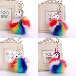 artificial rings women Promo Codes - Hot Fluffy Unicorn Pony Keychain Pendant Cute Pompom Artificial Rabbit Fur Key Chain Bag Car Key Ring Hang Bag Jewelry Free DHL B765S