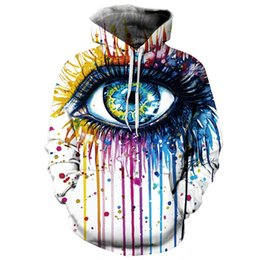 Wholesale eye print sweatshirt - men jacket Fashion Stylish Men hoodies Women Hooded Hoodies 3d Print Paint Eyes Thin Sweatshirts Tracksuits Men Clothing