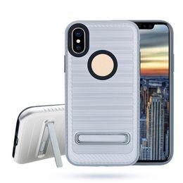 Wholesale Mint Brushes - Carbon Fiber Brushed Armor TPU Hybrid Kickstand Case Shockproof for iphone X 7 6s plus Samsung Note8 s8 plus LG V30 OppBag