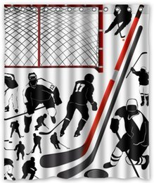 Wholesale Customs W x H Inch Shower Curtain Hockey Sport Waterproof Polyester Fabric Shower Curtain
