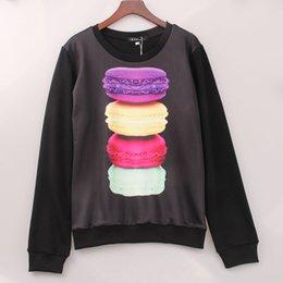 Wholesale Hamburger Pullover - 2016 Casual Cartoon Sweatshirt Women Hamburgers Printed Printing Hoodies Winter Black Tracksuits Tops Plus Size