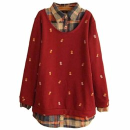 Wholesale Winter Coats Japan - TANGNEST Winter Sweater Women 2016 New Spring Casual Fashion Knitted Pineapple Pattern Fake Two Pieces Pullover Coat WZM456
