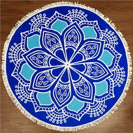 Wholesale Microfiber Yoga Towel Wholesale - Beach Towel Covers Round Mandala Microfiber Towels Printed Tapestry with Tassels Bohemian Beach Shawl Wrap Yoga Mat Serviette Blankets