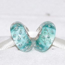 Wholesale Glass Pendants Glitter - 5pcs 925 Sterling Silver Threaded Screw Mint Glitter Murano Glass Bead Fits European Jewelry Charm Bracelet Necklaces & Pendants